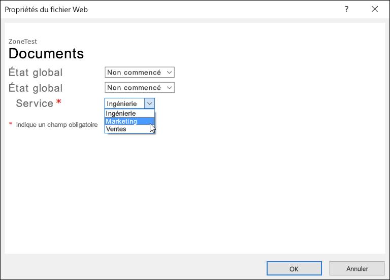 Boîte de dialogue Propriétés du fichier web avec le champ Service affichant une liste de trois options.