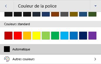 Menu couleur de police dans Word pour Android
