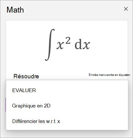 Exemple d'équation montrant des options de solution pour les dérivés et les intégraux
