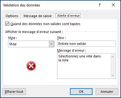 Options de Message d'erreur de liste déroulante Validation des données