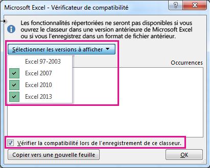 Vérificateur de compatibilité affichant les versions à vérifier