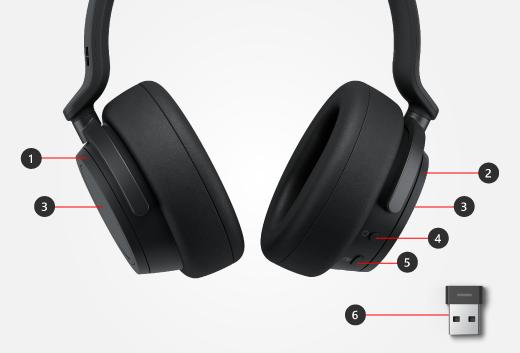 Boutons et touches sur les écouteurs Surface Headphones plus le liaison USB Surface