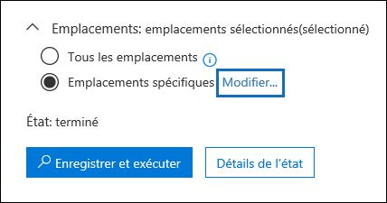 Cliquez sur Modifier pour modifier les emplacements de contenu de la requête de recherche intégrée