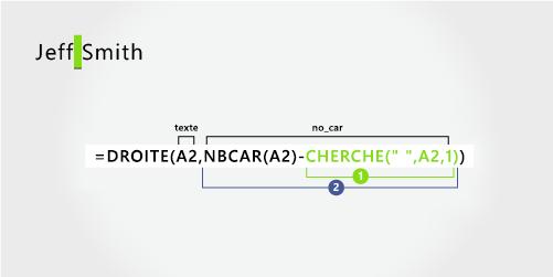 Formule permettant d'extraire un nom