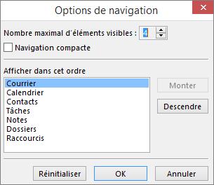 Boîte de dialogue Options de navigation de la barre d'accès rapide