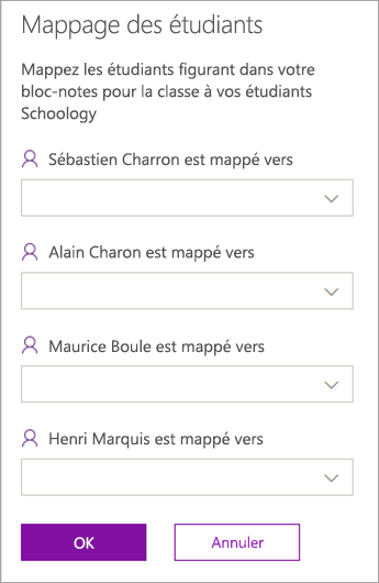 Mapper les étudiants entre les blocs-notes de cours et classes LMS ou SIS.