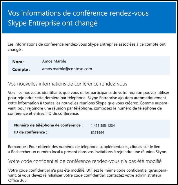 Les informations de la conférence rendez-vous ont été modifiées.