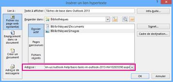 Boîte de dialogue Insérer un lien hypertexte