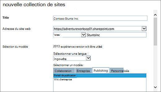 Partie supérieure gauche avec un portail de publication de boîte de dialogue Nouveau Site collection mis en surbrillance