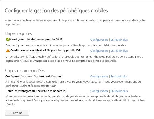 Étapes requises et recommandées pour la configuration de la gestion des appareils mobiles