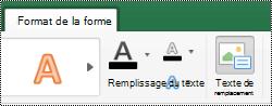 Bouton texte de remplacement pour les formes du ruban dans Excel pour Mac