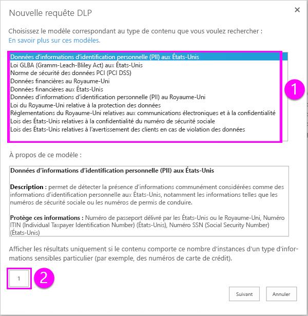 Modèles de stratégie DLP avec l'option nombre minimal requis