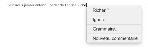 Erreur de grammaire avec menu contextuel affichant les options permettant de corriger celle-ci