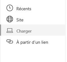Capture d'écran de la sélection d'emplacement de fichier dans Sharepoint.