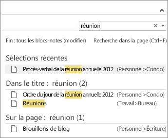 Utilisez la fonction de recherche pour rechercher des notes n'importe où dans OneNote.