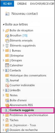 Dossier Contacts suggérés dans le volet Dossiers