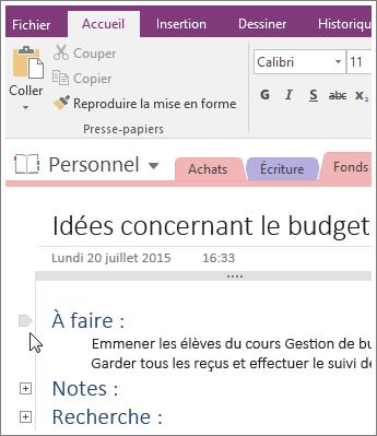 Capture d'écran de la réduction d'un plan dans OneNote2016