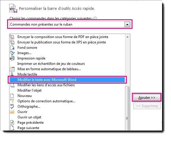 Ajoutez le bouton Modifier le texte avec Microsoft Word à la barre d'outils Accès rapide de Publisher.