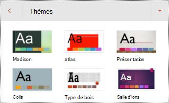 Thèmes pour les diapositives dans PowerPoint pour Android.
