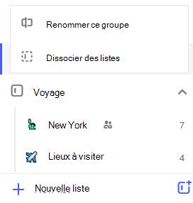 Capture d'écran du menu d'édition du groupe de listes ouvert avec l'option permettant de renommer ou dissocier les listes.