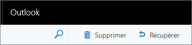 Une capture d'écran affiche les options Supprimer et Restaurer dans la barre d'outils Outlook sur le web.