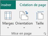 Groupe Mise en page dans l'onglet Création de page.