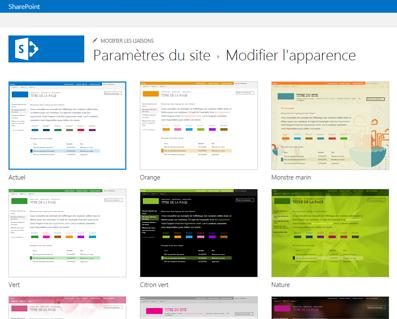 Exemples de conceptions disponibles pour la personnalisation de votre site communautaire