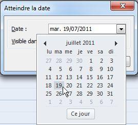 Boîte de dialogue Atteindre la date avec navigateur de dates