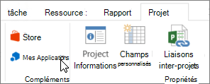 Capture d'écran d'une section de l'onglet projet du ruban avec un curseur en pointant sur mes applications. Choisissez mes applications pour sélectionner une application récemment utilisée, gérer toutes vos applications ou accédez à Office Store pour les nouvelles applications.