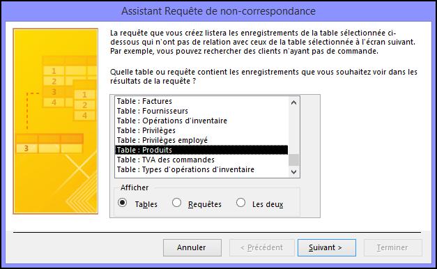 Sélectionnez une table ou requête dans la boîte de dialogue Assistant Requête de non-correspondance.