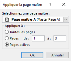 Capture d'écran montrant la boîte de dialogue appliquer la page maître.