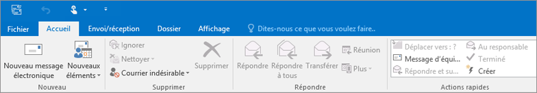 Apparence du ruban d'Outlook 2016 sur le web.