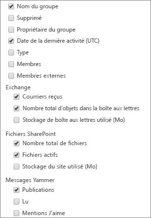 Rapports des groupes Office365 - Choisir les colonnes
