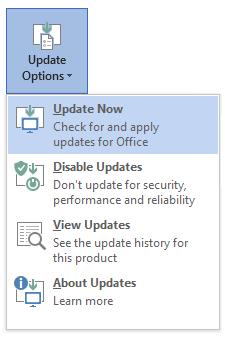 Capture d'écran des options de mise à jour