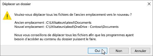 Capture d'écran montrant le message d'avertissement qui s'affiche lorsque vous cliquez sur Sélectionner un dossier dans la sélectionner une boîte de dialogue Destination.