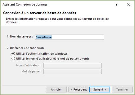 Assistant connexion de données > se connecter au serveur