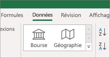 Onglet de données affichant les types de données Actions boursières et Géographie