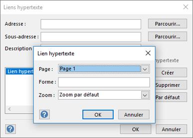 Boîte de dialogue Lien hypertexte