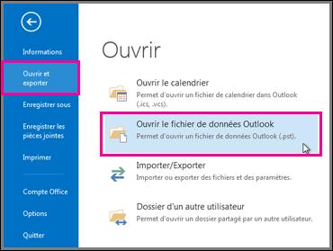 Ouvrir un fichier de données Outlook