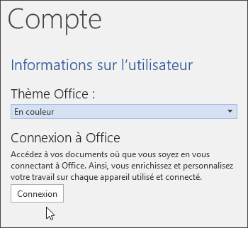 Capture d'écran montrant les informations sur le compte dans Word