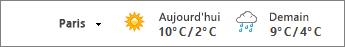 La barre météorologique affiche les températures en Celsius