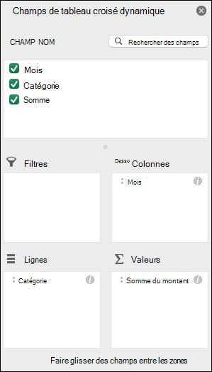 Exemple de la boîte de dialogue liste des champs de tableau croisé dynamique Excel