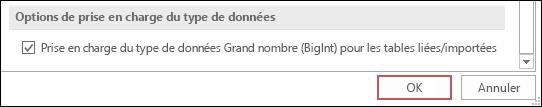 Capture d'écran de l'option prendre en charge le type bigint pour les tables liées/importées sélectionnée dans les options Access.