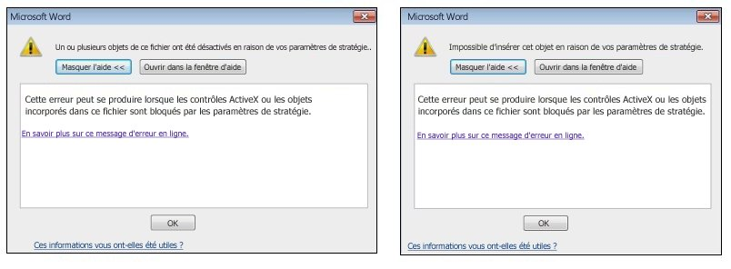 Message d'erreur lié aux objets incorporés et contrôles ActiveX