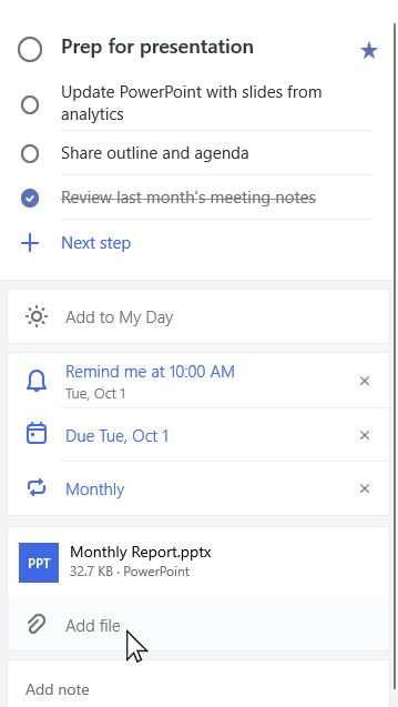 Vue Détails de la tâche de préparation d'une présentation avec rapport mensuel. pptx en pièce jointe et option permettant d'ajouter un fichier sélectionné