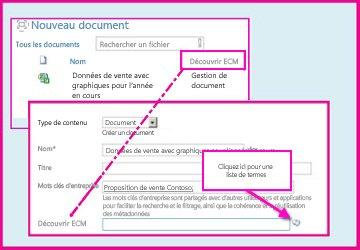 Une colonne de métadonnées gérées permet aux utilisateurs de sélectionner des valeurs prédéfinies à entrer dans la colonne à l'aide des propriétés de document.