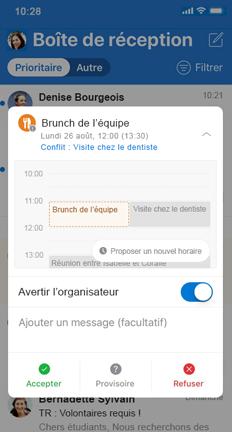 Invitation de calendrier avec le bouton Proposer un nouvel horaire