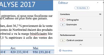 Volet Éditeur indiquant les problèmes de vérification à corriger dans un document Word ouvert