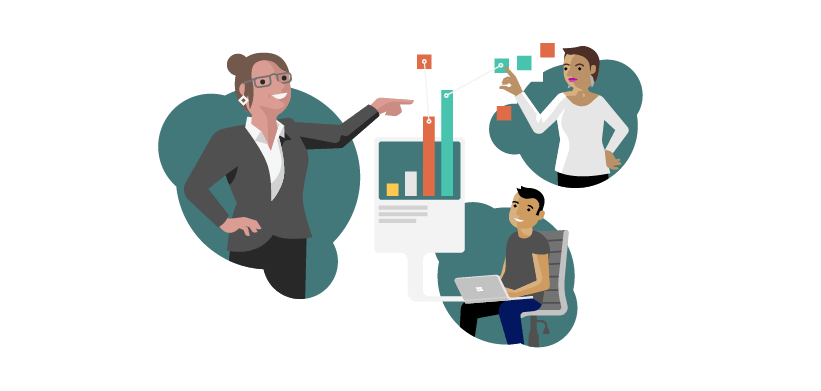 Illustration représentant deux experts aidant une personne