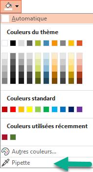 La commande pipette figure dans le menu couleur du volet mise en forme de l'arrière-plan.